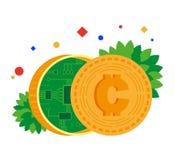 电子货币 与里面芯片的硬币 Blockchain 向量例证