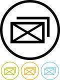 电子邮件图标查出的消息向量白色 免版税库存图片