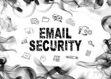电子邮件安全概念 在白色的烟 摘要、广告和营销背景 库存照片