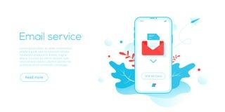 电子邮件服务创造性的平的传染媒介例证 电子邮件作为企业行销一部分的消息概念 Webmail或机动性 向量例证