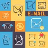 电子邮件概述象横幅传染媒介例证 动画片邮件元素信件,信封,邮票,岗位箱子,包裹,铅笔 库存例证