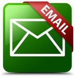 电子邮件绿色方形的按钮 库存照片