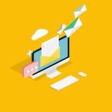 电子邮件营销概念 流动营销,电子邮件广告, 库存照片