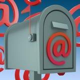 电子邮件邮箱显示Inbox并且Outbox邮件 免版税库存照片