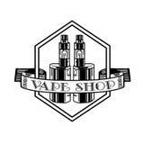 电子香烟和液体, Vape商店传染媒介单色徽章,象征 免版税库存图片
