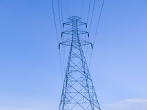 电岗位和缆绳指挥到工厂 库存照片