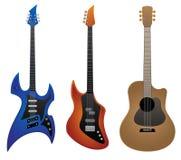 电岩石吉他、低音吉他和声学吉他传染媒介例证 图库摄影