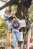 电工在越南 库存照片