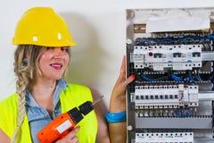 电工电评定的工作 免版税图库摄影