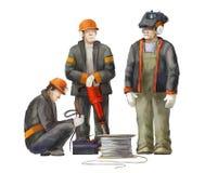 电工,焊工,起重器锤子工作者 运作在建筑工作例证的建造者 免版税库存照片