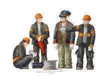 电工,项目负责人,起重器锤子工作者 运作在建筑工作例证的建造者 免版税库存照片