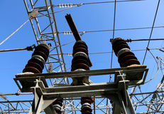 电开关在水力发电一个电子的分站 免版税库存图片