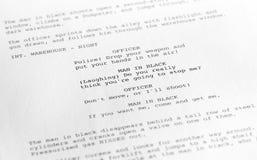 电影剧本特写镜头1 (摄影师写的普通影片文本 免版税库存照片