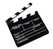 电影反对白色背景的拍板 库存图片