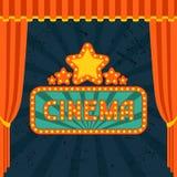 电影和戏院减速火箭的背景 免版税库存照片