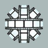 电影小条被隔绝的球形3D设计 免版税库存照片