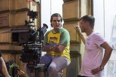 电影工作人员在萨格勒布,克罗地亚 图库摄影
