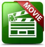 电影戏院夹子象绿色正方形按钮 库存图片