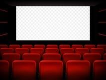 电影戏院首放与白色屏幕的海报设计 向量 向量例证
