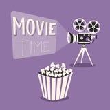 电影放映时间海报 外籍动画片猫逃脱例证屋顶向量 电影放映机和玉米花 库存图片