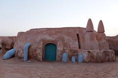 电影的行星Tatooine星际大战电影风景在撒哈拉大沙漠 图库摄影