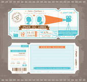 电影票婚礼邀请设计模板 库存照片