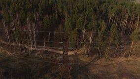 电影空中射击-高压电塔的飞行和在日落的输电线在的绿色森林上 股票录像