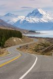 电影路向库克山,新西兰 库存照片