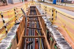 电新的电缆安装沟槽 库存照片