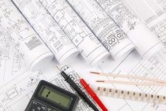 电机工程图画,导线,终端和数字式mult 免版税库存照片