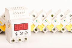 电机设备 电子保护和控制的辅助部件 库存照片