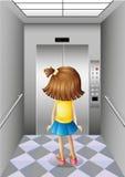 电梯的一个小女孩 库存图片