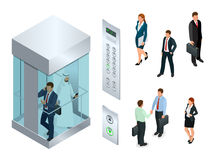 电梯的等量传染媒介设计有人里面和按钮盘区的 现实空的电梯大厅内部与 免版税库存图片