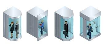 电梯的等量传染媒介设计有人里面和按钮盘区的 现实空的电梯大厅内部与 免版税库存照片