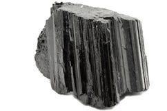 黑电气石Shorl自然标本 图库摄影