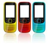 电池五颜六色的电话 库存图片