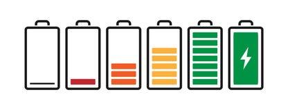 电池从充分地被充电的空白的带电指示器象 智能手机或膝上型计算机的传染媒介例证关系了题材 查出 库存例证