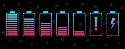 电池充电水平象集合 充满活力的颜色传染媒介例证 向量例证