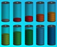 电池充电状态指示 颜色可能另外象征表单略写法对象使用向量 库存照片