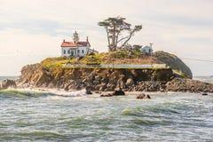 电池在太平洋海岸的点灯塔,在1856年修造 免版税库存图片