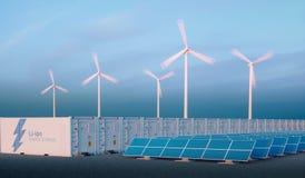 电池在好的早晨光的能量储备概念 氢e 免版税库存照片