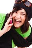 电池女孩电话联系 免版税库存照片