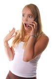 电池女孩高电话学校 免版税库存图片
