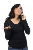 电池她的电话妇女年轻人 库存图片