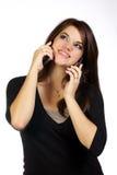 电池她的电话妇女年轻人 免版税库存图片