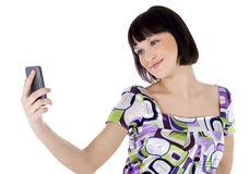 电池愉快的电话妇女 库存图片