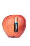 电池操作的苹果 免版税库存照片