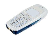 电池查出的电话白色 图库摄影