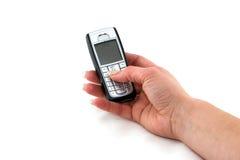 电池现有量电话womans 免版税库存图片