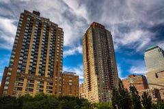 电池的公园市,曼哈顿,纽约摩天大楼 库存图片